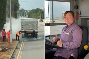 A video that is being circulated on Facebook shows Ms Thian Siew Mui swiftly extinguishing the flames in the lorry and checking if the fire had been put out, before returning to the bus.