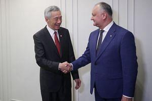 Prime Minister Lee Hsien Loong meeting President of Moldova Igor Dodon in Yerevan, Armenia, on Sept 30, 2019.