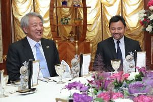 Senior Minister Teo Chee Hean and Brunei's Crown Prince Al-Muhtadee Billah during Mr Teo's four-day trip to Brunei.