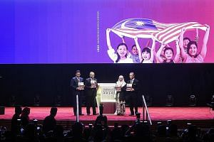 Malaysian Prime Minister Mahathir Mohamad (second from left) at the launch of the Shared Prosperity Vision 2030 plan yesterday. With him are (from left) Economic Affairs Minister Azmin Ali, Deputy Prime Minister Wan Azizah Wan Ismail and Home Ministe