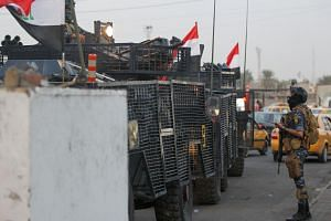 Iraqi police deployed in Baghdad's Sadr City, on Oct 7, 2019.