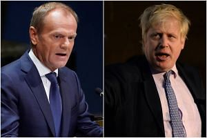 """Boris Johnson (right), what's at stake is not winning some stupid blame game,"" European Council President Donald Tusk said on Twitter."