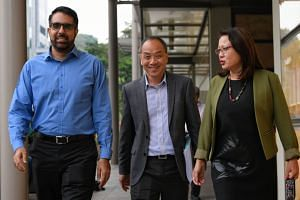 A file photo taken on Oct 9, 2018, showing Workers' Party MPs (from left) Pritam Singh, Low Thia Khiang and Sylvia Lim at the Supreme Court. The trio are involved in a multi-million-dollar civil suit over alleged improper payments.