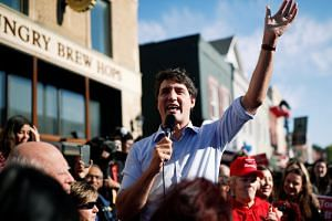Liberal leader and Canadian Prime Minister Justin Trudeau speaks during an election campaign visit to Richmond Hill near Toronto, Canada on Oct 13, 2019.