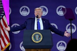 US President Donald Trump addresses conservative activists at the Family Research Council's annual gala in Washington DC on Oct 12, 2019.