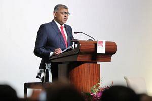 Chief Justice Sundaresh Menon delivering the 11th S. Rajaratnam Lecture on Oct 15, 2019.