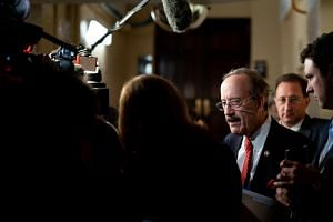 Rep. Eliot Engel talks to reporters after a House Democratic Caucus meeting on Capitol Hill in Washington DC on Oct 16, 2019.