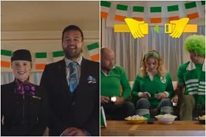 The video mimics an Air New Zealand pre-flight safety briefing.