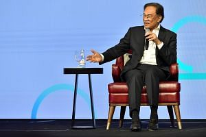 Mr Anwar Ibrahim speaking during a conference in Singapore on April 26, 2019. He is expected to take over the reins from Malaysian Prime Minister Mahathir Mohamad before the country's next general election.