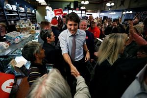 Liberal leader and Canadian Prime Minister Justin Trudeau campaigns for the upcoming election, in Orillia, Ontario, Canada on Oct 18, 2019.