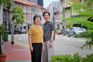 Urban Redevelopment Authority's senior conservation director Teh Lai Yip (left) and group director of conservation Chou Mei at Tanjong Pagar Road on Oct 16, 2019.