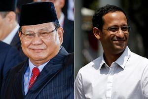Indonesian opposition leader Prabowo Subianto (left) and Gojek co-founder Nadiem Makarim (right) will be joining Indonesian President Joko Widodo's new Cabinet.