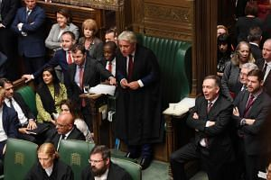 Britain's House of Commons speaker John Bercow (centre) during an emergency meeting of Parliament in London, Britain, on Oct 19, 2019. He has said a vote should not be allowed on Monday.