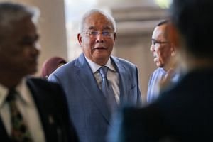 Former Malaysian prime minister Najib Razak arriving at the High Court in Kuala Lumpur on Oct 16, 2019.