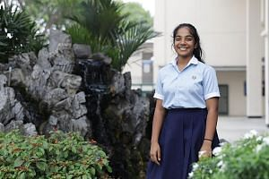 Ngee Ann Secondary School student Devni Chamodya Kaluarachchi's love affair with the Chinese language began when she was in Kindergarten 2 and attended classes in wushu, or Chinese martial arts. ST PHOTO: MARCELLIN LOPEZ