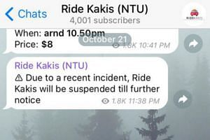 The Ride Kakis group was suspended on Monday night. A message said the suspension was due to a recent incident, but did not provide details.