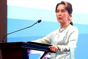 In a photo taken on Aug 20, 2019, Myanmar leader Aung San Suu Kyi delivers the opening speech during the Myanmar-Japan-US Forum on Fostering Responsible Investment in Yangon.