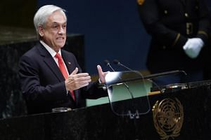 Chile's President Sebastian Pinera addresses the 74th session of the United Nations General Assembly at U.N. headquarters in New York, U.S., Sep 24, 2019. Pinera's announcement follows a peaceful rally late on Friday that saw 1 million Chileans flood
