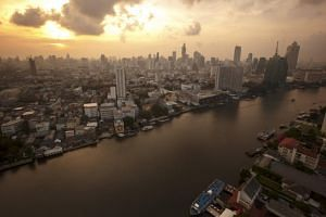 A view of the central Bangkok skyline.