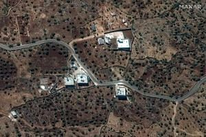 A satellite view of the reported residence of ISIS leader Abu Bakr al-Baghdadi, according to the source, near the village of Barisha, Syria, collected on Sept 28, 2019.