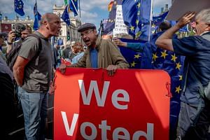 Demonstrators on both sides of the Brexit divide gathered outside Parliament in London.