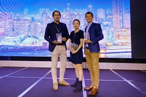 (From left) Stomp editor Azhar Kasman, ST senior executive content producer Denise Chong and product manager of digital media products Joash Yeo at the 10th edition of the Asian Digital Media Awards on Oct 30, 2019.