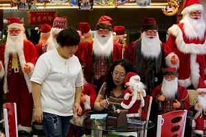 A stall selling Christmas products at the Yiwu Wholesale Market in Yiwu in China's Zhejiang province. Sales at the market plunged 64 per cent last year compared with 2017, according to the market's annual report. This was largely because of the US-Ch