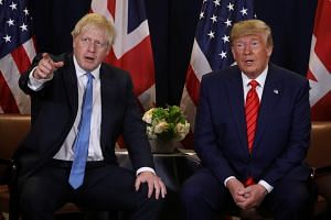 British Prime Minister Boris Johnson and US President Donald Trump on the sidelines of the annual United Nations General Assembly in New York City on Sept 24, 2019.