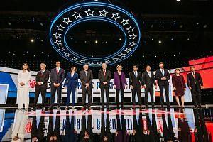 The Democratic presidential candidates are: (from left) Hawaii Congresswoman Tulsi Gabbard; co-founder of NextGen Climate Action Committee Tom Steyer; New Jersey Senator Cory Booker; California Senator Kamala Harris; Vermont Senator Bernie Sanders; f
