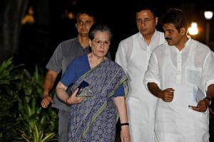 In a picture taken on Aug 10, Sonia Gandhi arrives to attend a Congress Working Committee meeting in New Delhi, India.