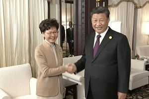 Chinese President Xi Jinping and Hong Kong Chief Executive Carrie Lam shaking hands during a meeting in Shanghai, on Nov 4, 2019.