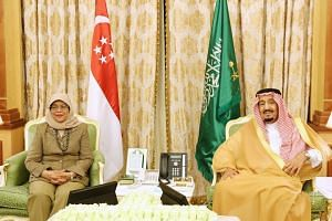 President Halimah Yacob called on Saudi King Salman bin Abdulaziz Al Saud at the royal palace in Riyadh on Nov 6, 2019.