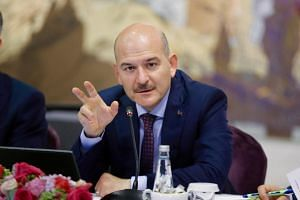 In this file picture, Turkey's Interior Minister Suleyman Soylu speaks during a new conference in Istanbul, Turkey, on Aug 21, 2019.