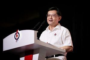 DPM Heng Swee Keat speaking at the PAP65 Awards and Convention at Singapore Expo, on Nov 10, 2019.