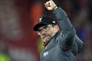 Liverpool manager Jurgen Klopp reacts after the English Premier League soccer match between Liverpool and Manchester City in Liverpool, Britain, on Nov 10, 2019.