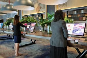 An automated check-in system via touchscreen monitor, at Swissotel on Nov 6, 2019.