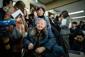 "Former ""comfort woman"" Gil Won-ok arrives at a press conference near the Seoul Central District Court in Seoul on Nov 13, 2019."