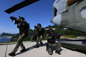 South Korean special forces participating in a military drill at the easternmost islets of Dokdo, on Aug 25, 2019.