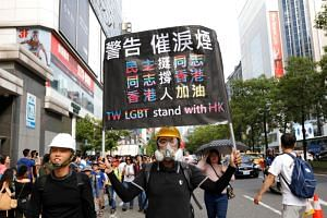 In a photo taken in Taipei on Oct 26, a gay pride parade participant holds a placard showing support for pro-democracy protests in Hong Kong.
