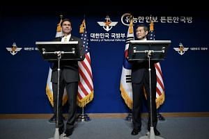 US Secretary of Defence Mark Esper and South Korean Defence Minister Jeong Kyeong-doo speak at a news conference in Seoul, South Korea, on Nov 15, 2019.