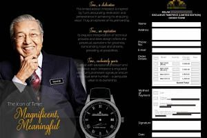 The brochure comes with an order form for a watch engraved with Dr Mahathir Mohamad's signature.