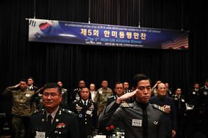 US and South Korean soldiers attend the 5th ROK-US alliance dinner in Seoul on Nov 14, 2019.