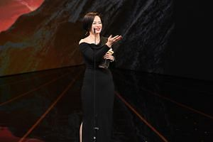 Malaysian actress Yeo Yann Yann receiving the award for Best Leading Actress at the Golden Horse Awards for her role in Wet Season.