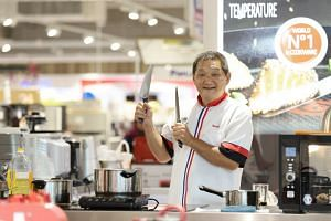 Mr Scharlie Lim has been demonstrating Tefal products for eight years  at Courts Megastore in Tampines.
