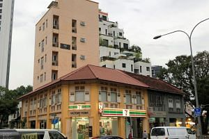 Victory Point comprises a two-storey conservation shophouse with an attic and a six-storey, nine-apartment block.