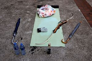 Items left behind by protesters at the Hong Kong Polytechnic University in Hong Kong, on Nov 27, 2019.