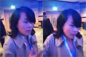 Linlin Kong (pictured) assaulted Enoch Lieu at a fringe meeting at the Conservatives' annual conference in Birmingham, central England, in September 2018.