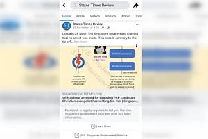 "Facebook has put up a notice at the bottom of a post in the States Times Review page. It reads: ""Facebook is legally required to tell you that the Singapore government says this post has false information."""