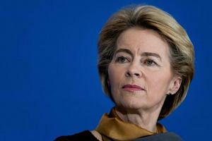 European Commission President Ursula von der Leyen attends a press conference at the House of European History in Brussels to celebrate the 10th anniversary of the Lisbon Treaty on Dec 1, 2019.