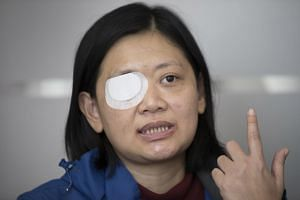 Ms Veby Mega Indah, an Indonesian video journalist, speaks during an interview in Hong Kong on Dec 4, 2019. She was blinded in one eye by what she believes was a projectile fired by riot police on Sept 29.